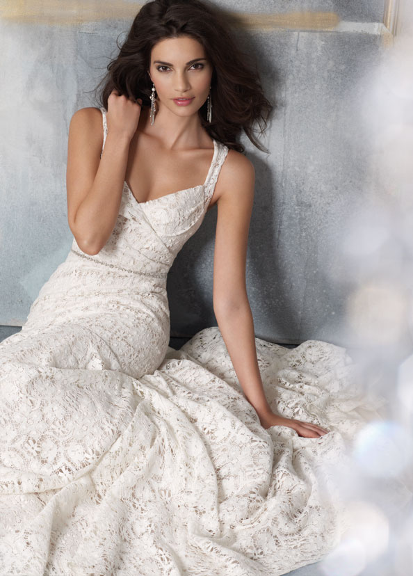 Ivory cotton lace over champagne charmeuse modified a line bridal gown