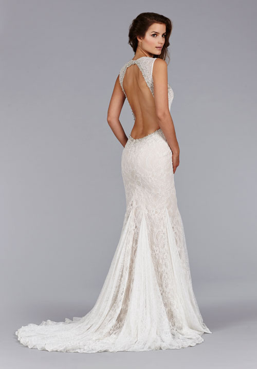 Bridal gowns wedding dresses by jim hjelm style jh8453 for Lace low back wedding dress