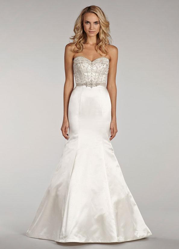 Mermaid trumpet sweetheart beaded satin wedding dress for Beaded trumpet wedding dress