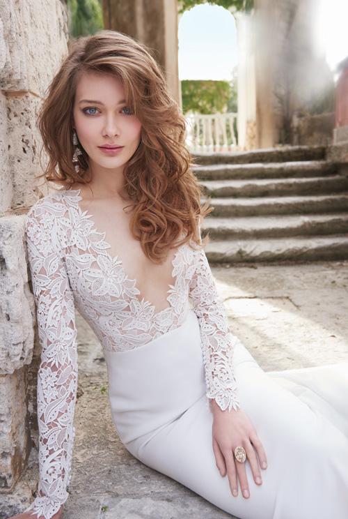 Bridal gowns wedding dresses by tara keely style tk2450 for Long sleeve slim wedding dresses