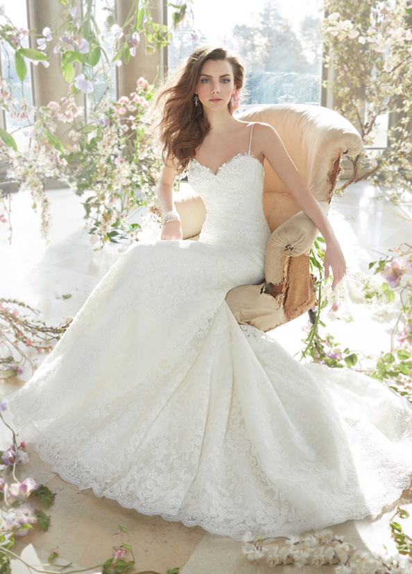 Ivory alencon and venise lace fit and flare bridal gown sweetheart